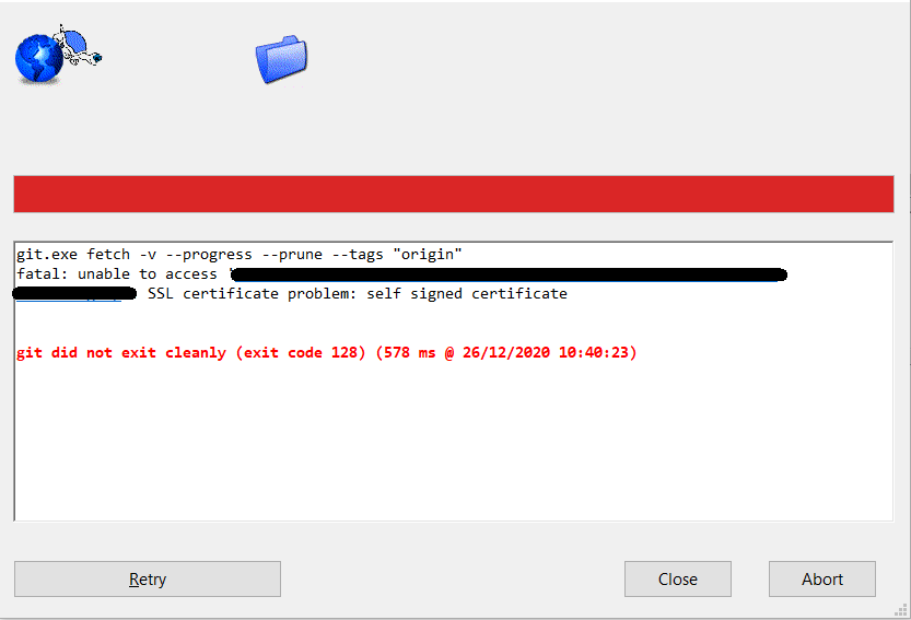 Error de sincronización en TortoiseGit
